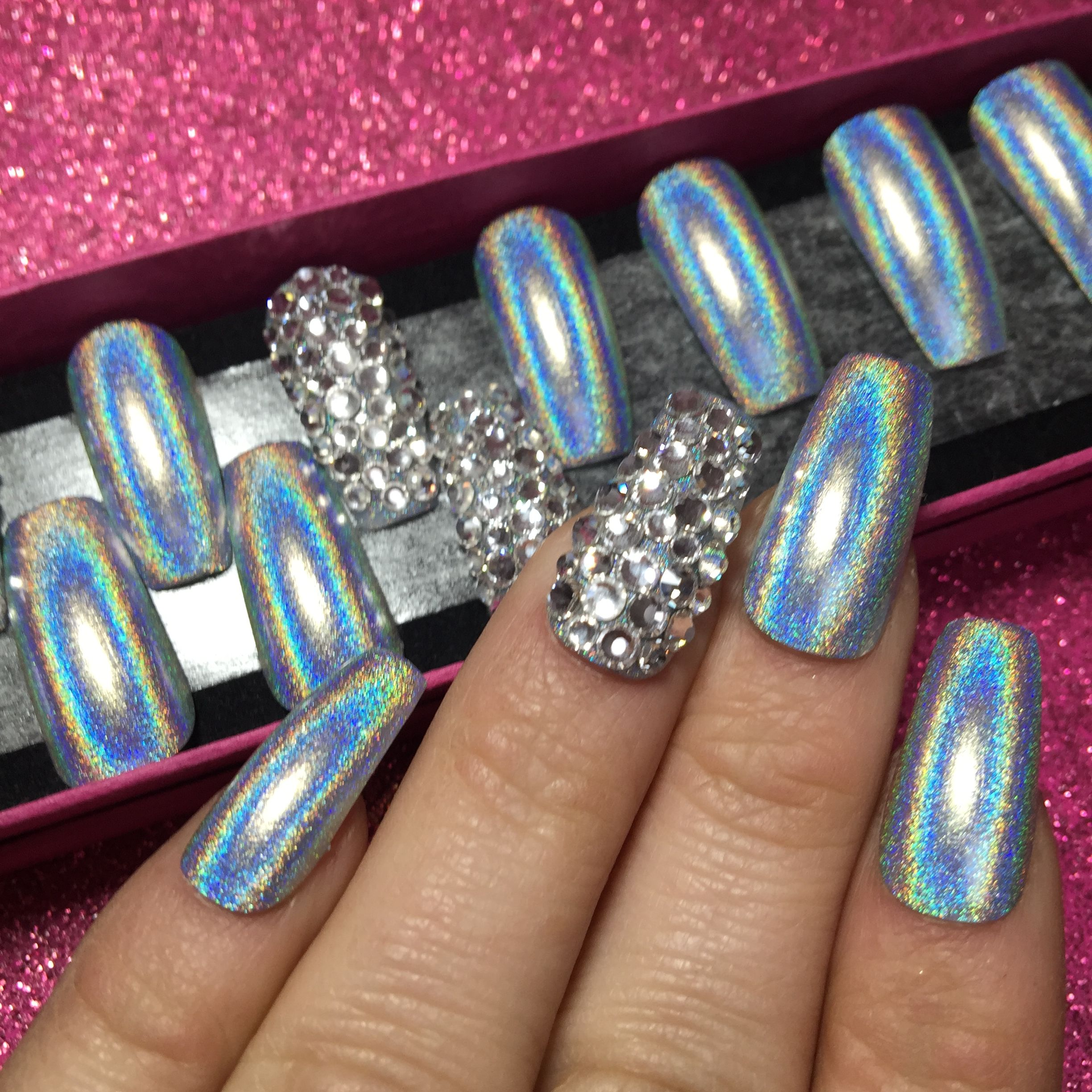 Long stiletto. Holographic Glitter. Encapsulated silver