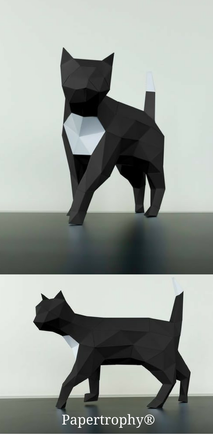 A Black And White Cat Figurine From Papertrophy It Makes A Sleek Decoration For Your Office 3d Origami Tiere Papierskulpturen 3d Origami