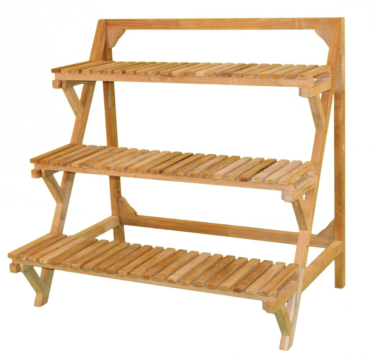 Tiered Outdoor Indoor Plant Stand Eucalyptus Wood Patio Planter Shelf 3  Tier | Jewels Of Java