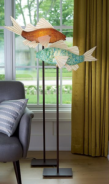 Azul Koi Lamp By Lara Fisher Mixed Media Lamp Artful Home Light Sculpture Fish Lamp Lamp