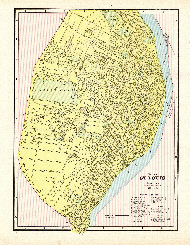 1900 Antique ST LOUIS Map Vintage Map of St Louis Missouri Gallery ...