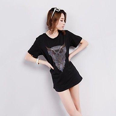 Lanmeng ® Kvinder rund hals Casual Fashion Solid Color Diamonade Animal Print Loose Long bomuld korte ærmer Slim T-Shirt – DKK kr. 55