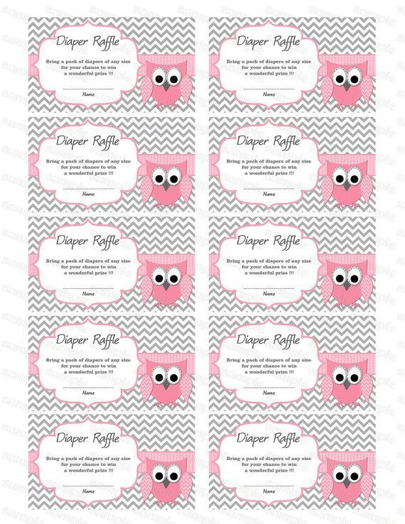 Owl Baby Shower Diaper Raffle Ticket Diaper Raffle .