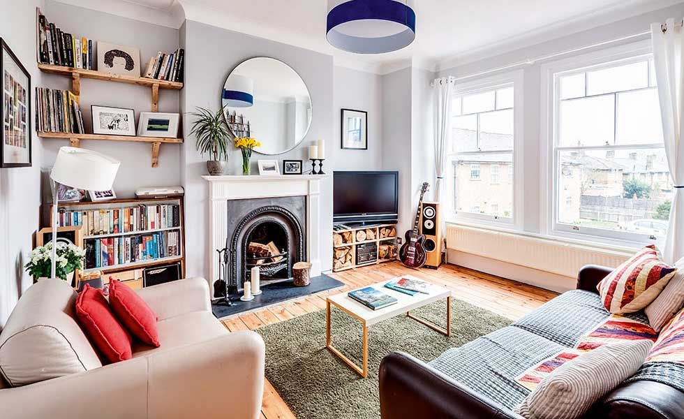 Victorian Meets Scandi Style Living Room With Sanded Back Floorboards