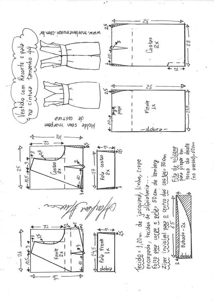 34b12ae9644 Элегантное летнее платье - все размеры выкройки   Простые выкройки   ВТОРАЯ  УЛИЦА