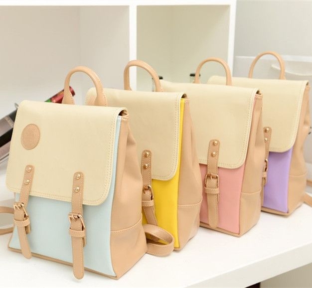 Korean style 2014 vintage leather backpack sweet girls preppy ...