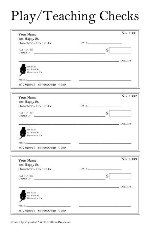 printable checks for play or teaching check-writing skills ADL - blank memo template