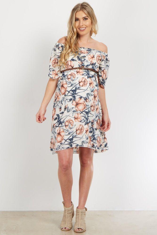 912aac17577 Ivory Floral Off Shoulder Belted Maternity Dress