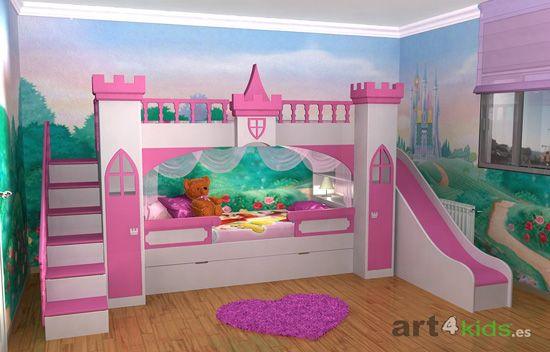 Cama de castillo en pinterest habitaciones del castillo for Camas nidos para ninas