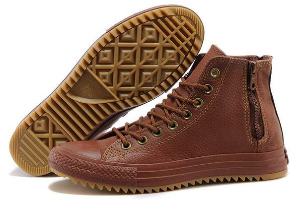 218d66a0cd9f Converse John Varvatos Zip All Brown All Star Leather Chuck Taylor High Tops