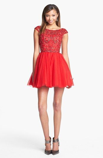 Sherri Hill Embellished Tulle Fit Flare Dress Online Exclusive