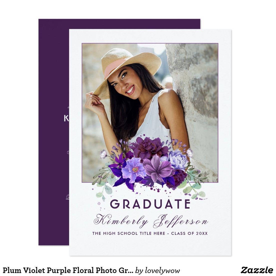 Plum Violet Purple Floral Photo Graduation Card Watercolor Plum And