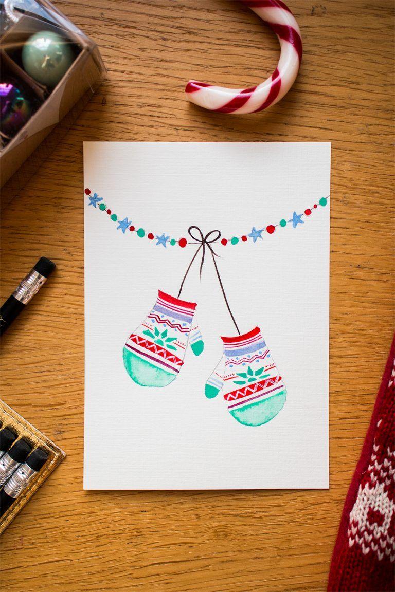DIY: Weihnachtskarten mit Wasserfarben - tea & twigs #cartedenoelenfant