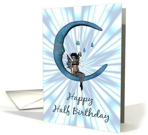 Happy Half Birthday-Fairy On Blue Half Moon-Abstract Greeting Card