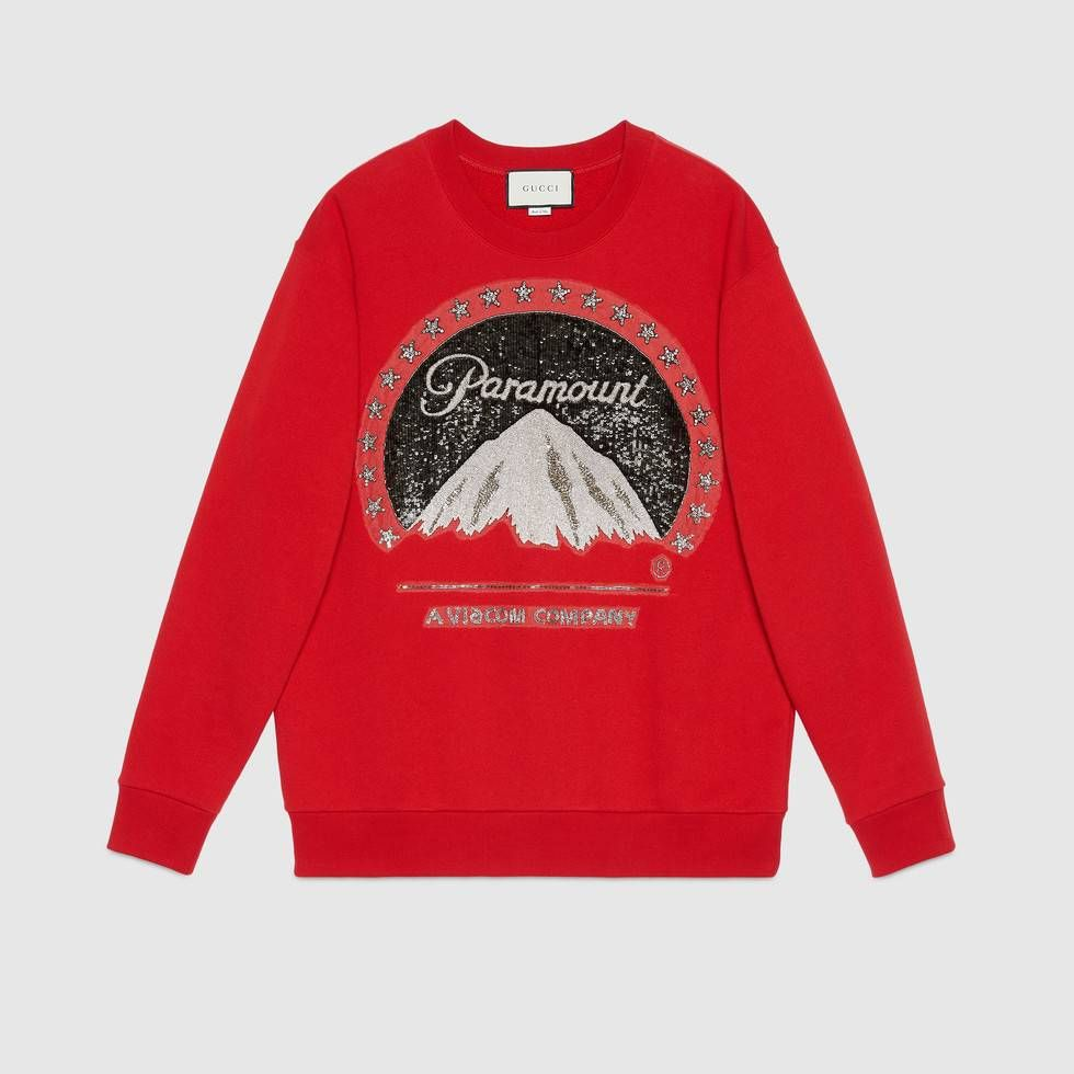 6225e04cb81 Shop the Oversize sweatshirt with Paramount logo by Gucci. An oversize T- shirt with the Paramount logo print. Paramount Pictures Corporation is an  American ...
