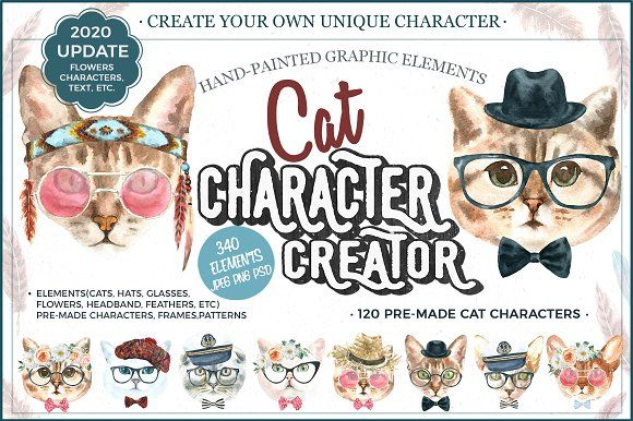 Cat Character Creator Watercolor by Catherine Wheel on @creativemarket #1weihnachtstaglustig