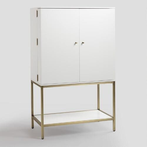 Featuring An Antique Brass Metal Base, Our White Lacquer Cabinet Is A  Contemporary Statement Piece