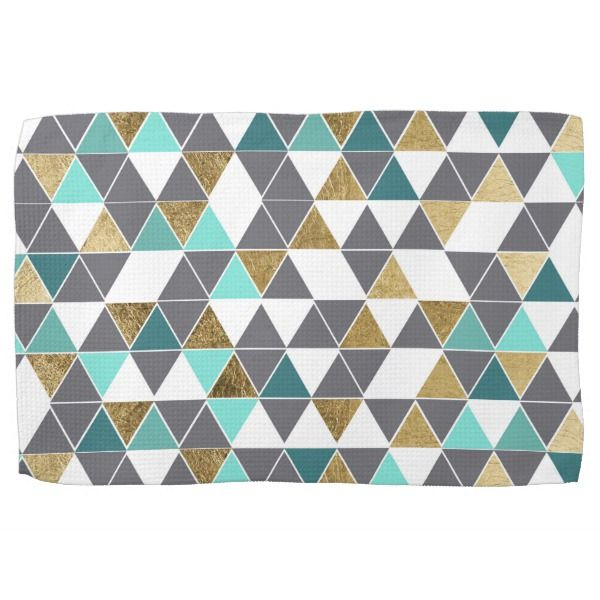 Modern Gray White Teal and Faux Gold Triangles Kitchen Towel | Zazzle.com images
