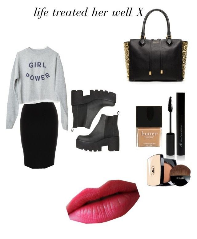 """""""bling n black"""" by perff on Polyvore featuring Michael Kors, Givenchy, Chanel, Butter London, women's clothing, women, female, woman, misses and juniors"""