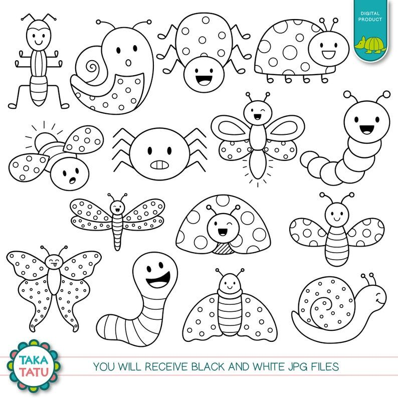 Cute Bugs Digital Stamp Cute Bugs Clip Art Kawaii Bugs Etsy In 2021 Digital Stamps Free Digital Stamps Bug Coloring Pages