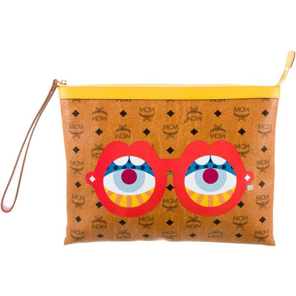 Pre-owned MCM Eyes on the Horizon Clutch (€555) ❤ liked on Polyvore featuring bags, handbags, clutches, yellow, multi colored handbags, mcm handbags, hand bags, multi colored clutches and multi color purse