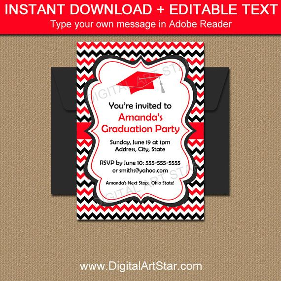 Graduation Invitation Template  Graduation Party Ideas