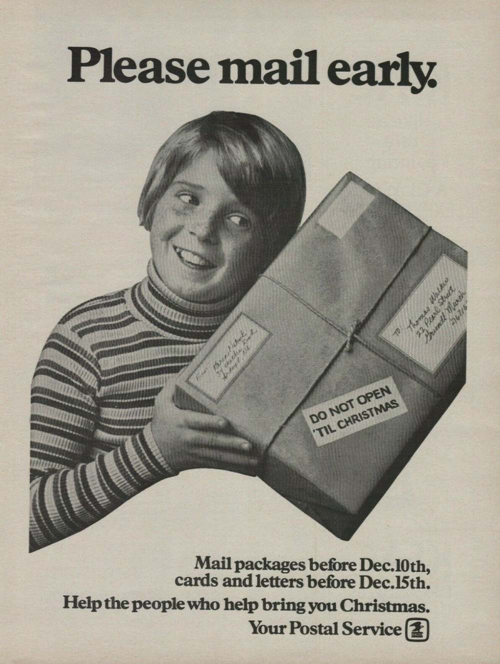 Usps Christmas Delivery Schedule 2020 1973 USPS Postal Service Christmas Delivery Excited Kid Holding