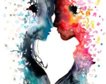 mermaid - Love Watercolor painting - Art Print - Poster - blue - red - kiss - woman - man - Illustration - Wall art home Decor