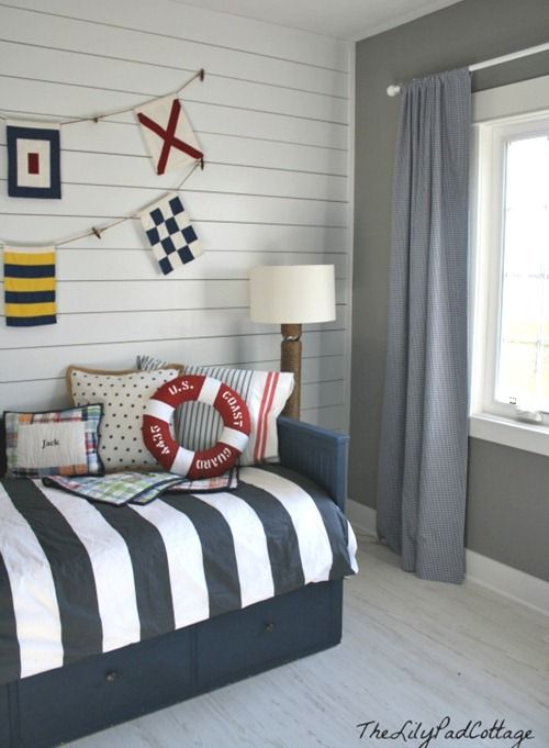 Nautical Boy Room Bedroom Ideas Home Decor I Painted This Ikea Bed With Navy Chalk Paint And Put Up Mdf Planking On The Wall