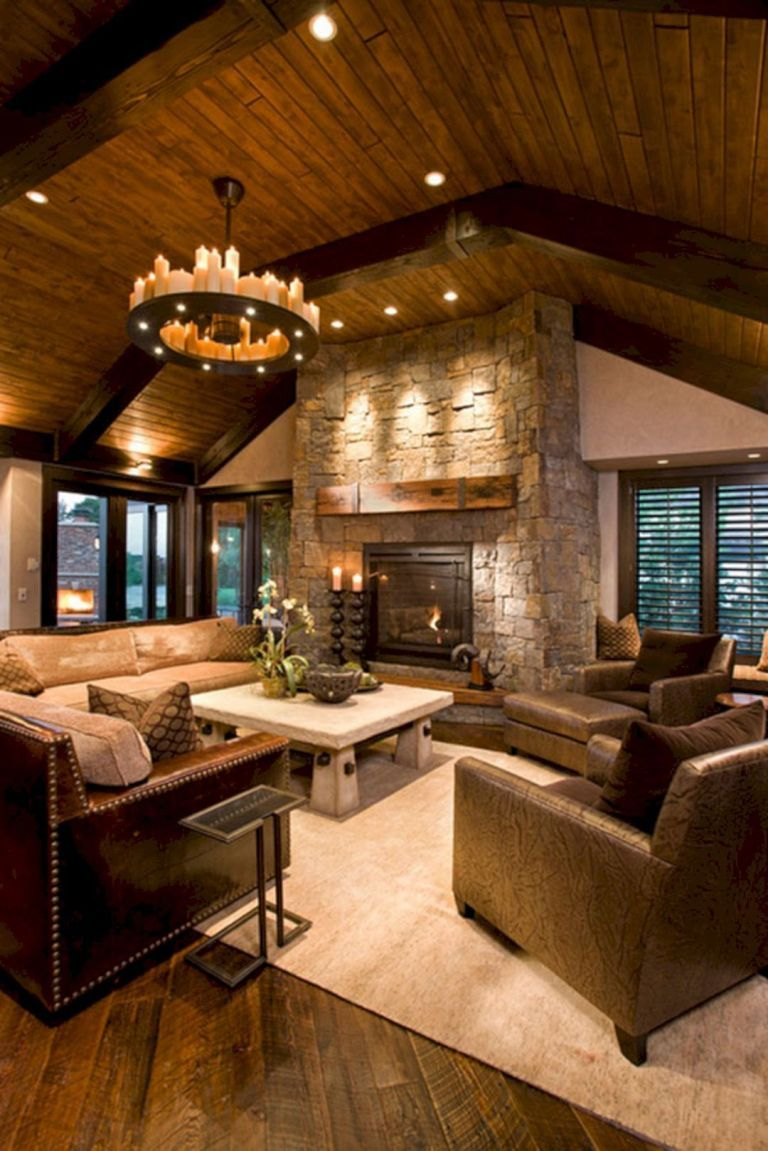 02 Best Cabin Style Interior Inspirations Rustic Family Room