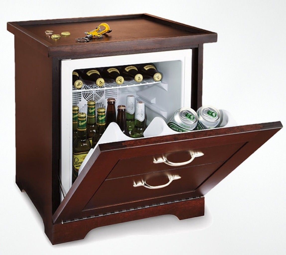The classy mini refrigerator end table