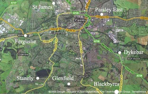 Satellite image of Paisley with location of stations  Paisley to