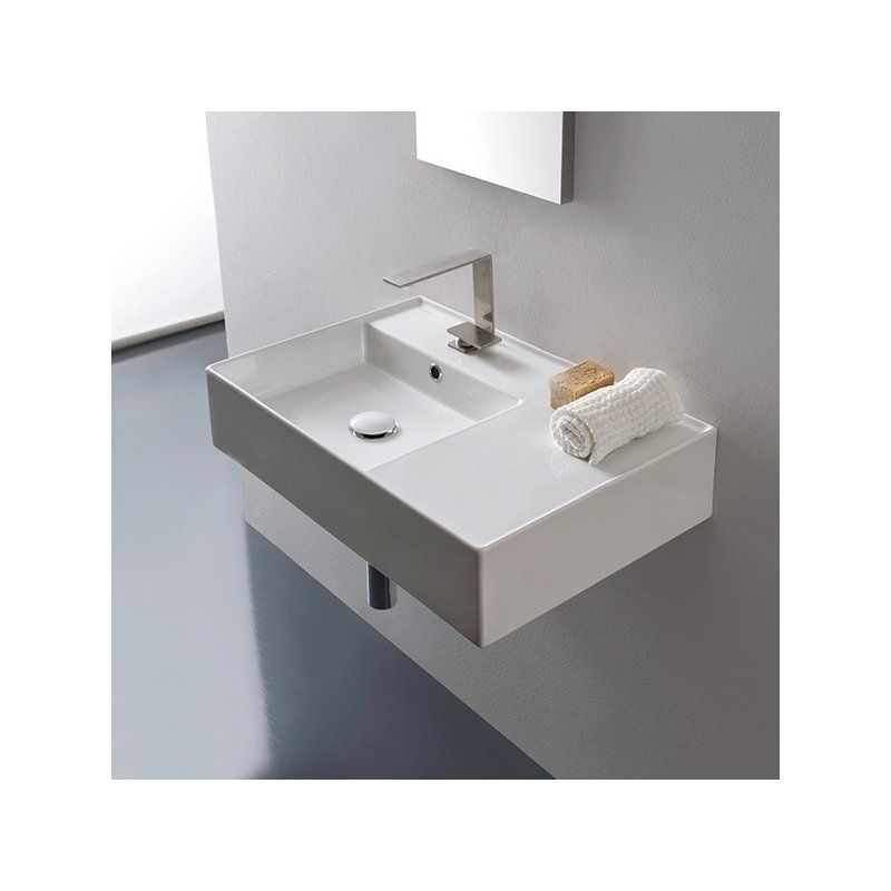 Teorema Ceramic Rectangular Vessel Bathroom Sink with Overflow
