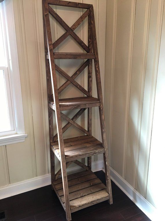 Farmhouse Style Ladder Bookshelf