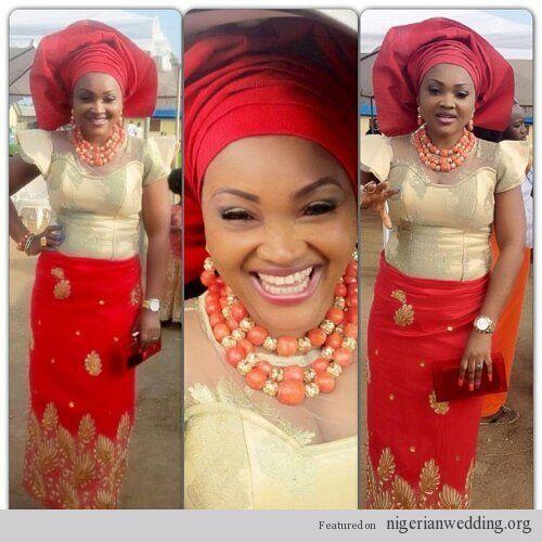 Nigerian Wedding french lace & velvet ore iyawo aso ebi styles ...