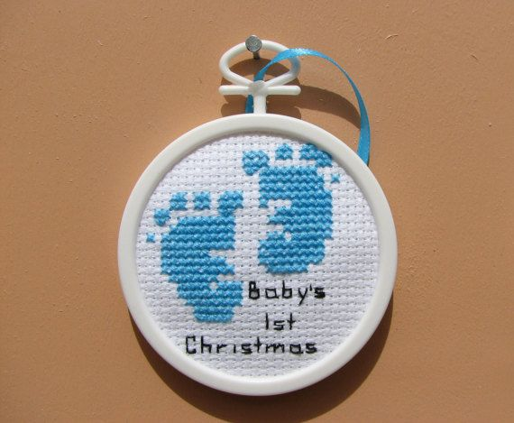 Photo of Handmade Baby Boy 1st Christmas Cross Stitch Ornament