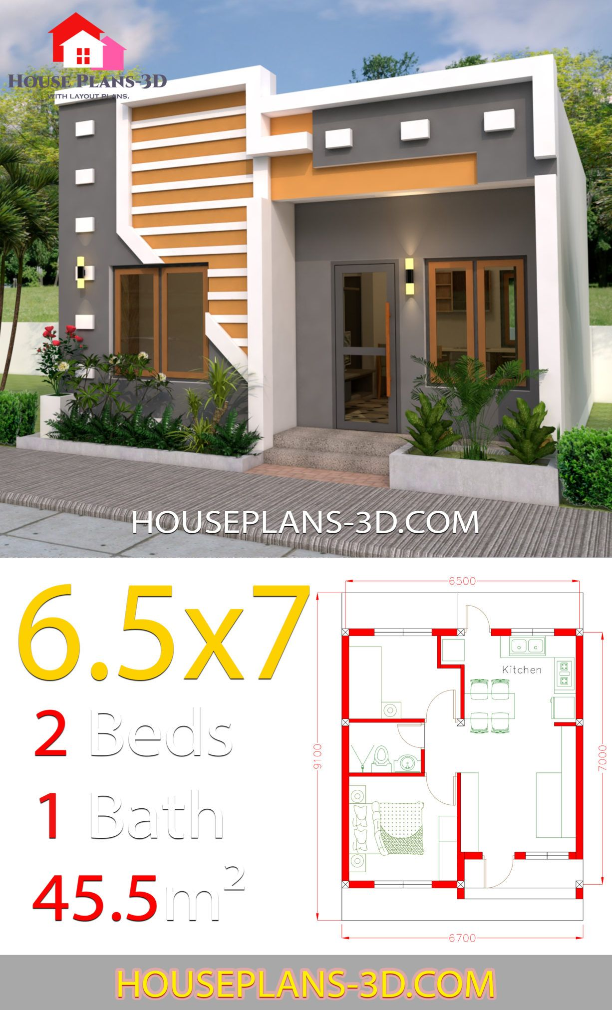 Small House Design 6 5x7 With 2 Bedrooms Full Plans House Plans 3d Small House Design Plans Small House Design House Front Design
