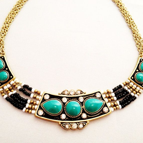 Statement Bib Necklace Aqua Green  with Gold-tone 3 Chain and Rhinestones Beads Boho Chic Spring Summer Style 2013