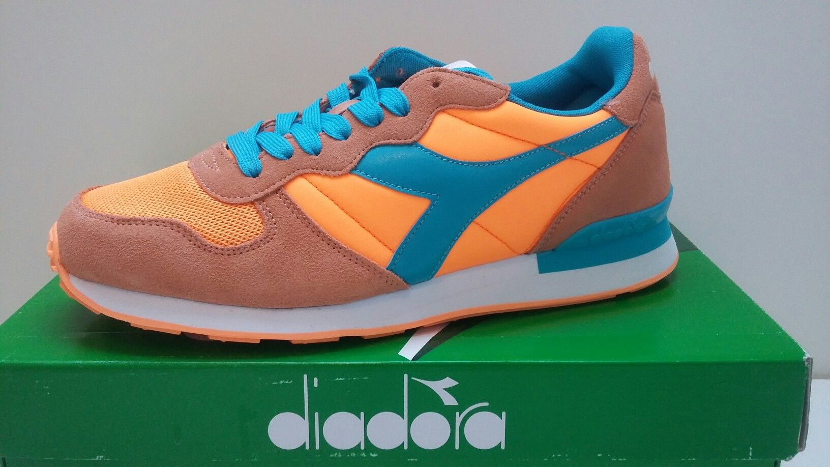 Diadora Camaro Orange Fluo and Cyan Blue | Sneakers | Fluo