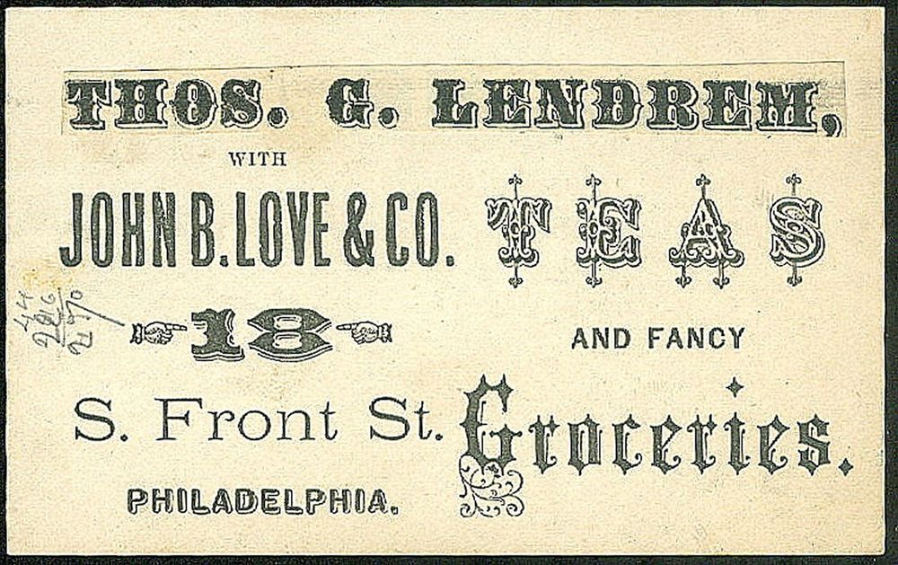 Groceries Business Card w Paste-Over of Previous Owner Philadelphia ...