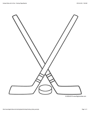 sports coloring page with a picture of two hockey sticks and a puck