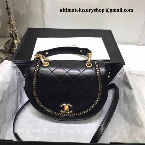 Authentic Quality Perfect 1 Mirror Replica Chanel Flap Bag Black Lambskin Metal Accents