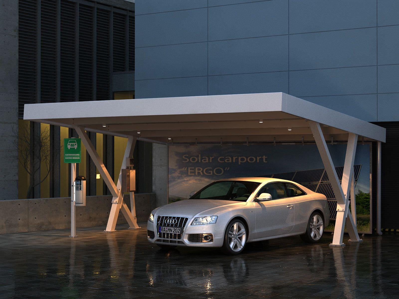 abri de voiture en m tal professionnel avec panneaux photovolta ques int gr s ergo x 3600. Black Bedroom Furniture Sets. Home Design Ideas