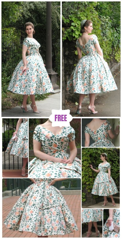 DIY Dior-Inspired Vintage Dress Free Sew Pattern #vintagedresses