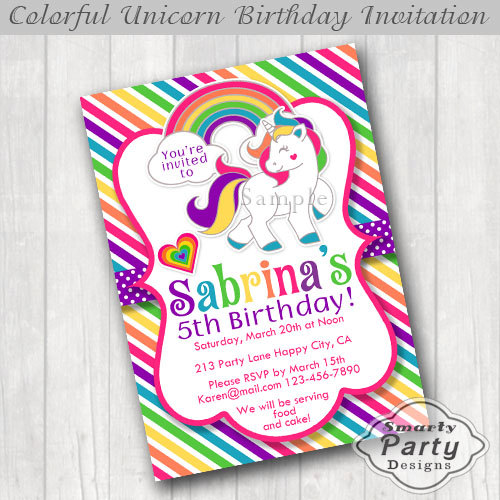 Colorful Unicorn Rainbow Cloud Heart Pony Birthday Party