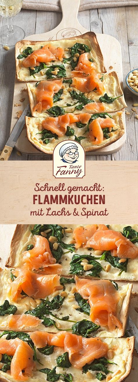 Photo of Tarte flambé with salmon & spinach