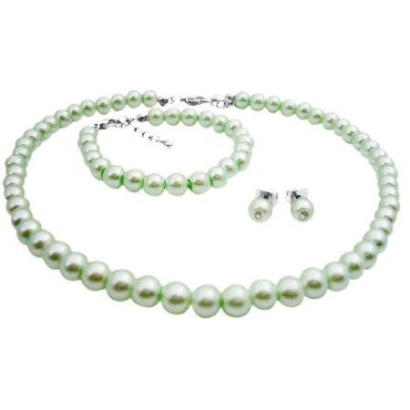 Price $8.99 Fabulous Girls Jewelry Soft Tender Inexpensive Flower Girl Jewelry gift Beautiful Necklace Earrings & bracelet with Lite Green Pearls soft