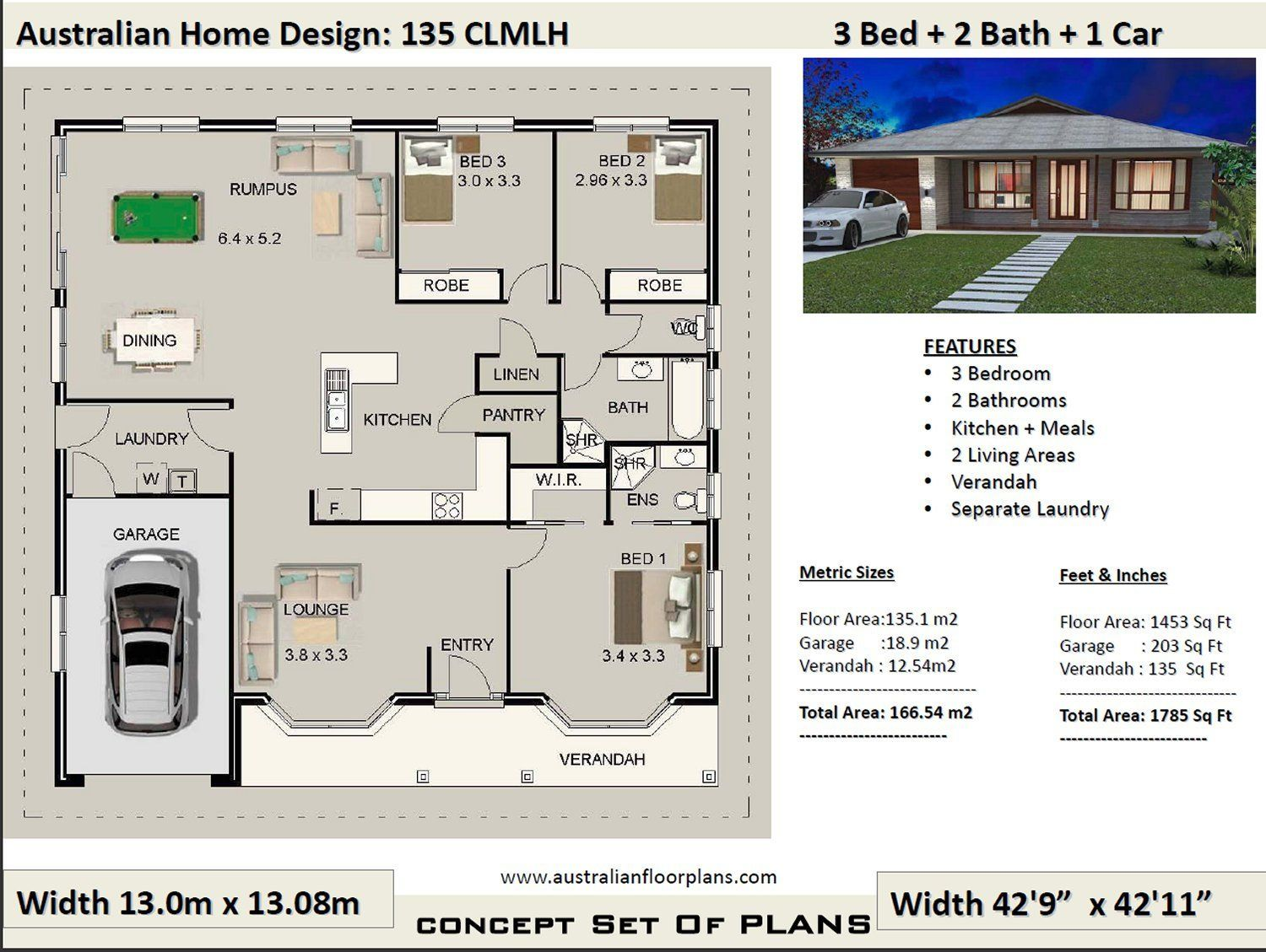 Country Style 3 Bedroom Plans 166m2 1785 Sq Ft 3 Bedroom
