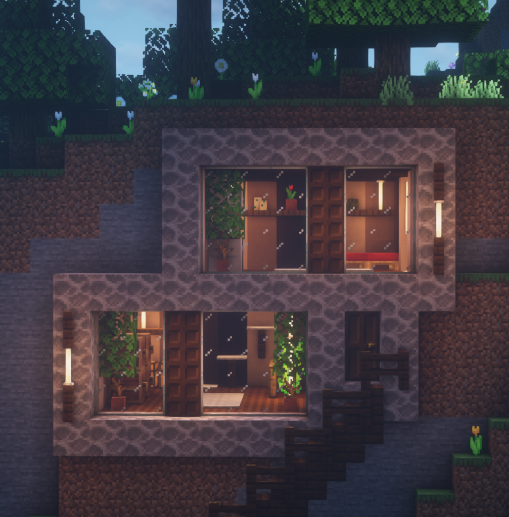 Modern Hill Side House Minecraft Houses Cute Minecraft Houses Minecraft Houses Blueprints