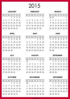 calendars 2015 printable